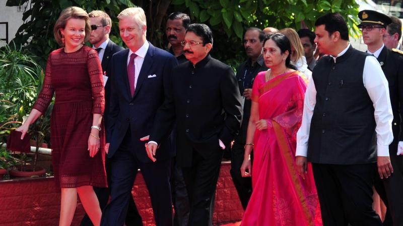 Belgium's King Philippe, center, Queen Mathilde and Maharashtra Governor C Vidyasagar Rao, his wife Vinoda, Chief Minister Devendra Fadnavis walk together during the royal couple's visit to the Raj Bhawan in Mumbai, India, Thursday. (Photo: Debasish Dey/DC)