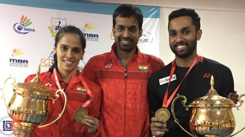 """""""I would like to thank Gopi sir (Pullela Gopichand) and the team for working on my movement and helping me improve my game. They have played quite an important role in this win,"""" said Saina Nehwal following her National Badminton Championships triumph. (Photo: Twitter / Saina Nehwal)"""