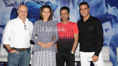 Akshay Kumar, Taapsee Pannu, Anupam Kher and Manoj Bajpayee promoted their film 'Naam Shabana' in Delhi on Sunday. (Photo: Viral Bhayani)