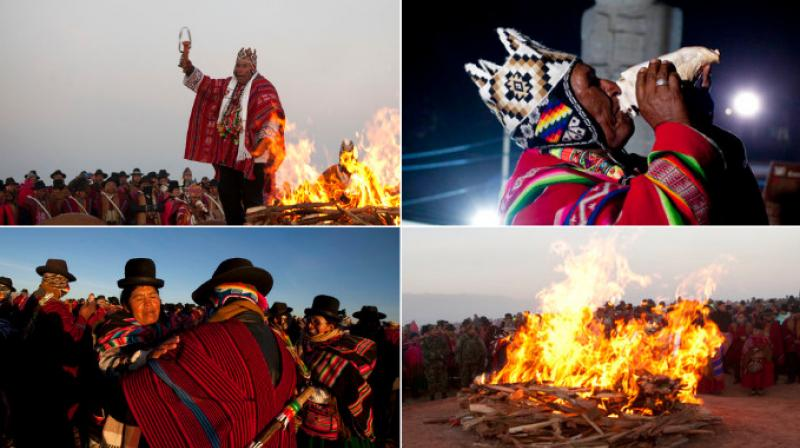 Bolivia's Aymara Indians are celebrating the year 5,525 as well as the Southern Hemisphere's winter solstice, which marks the start of a new agricultural cycle. (Photo: AP)