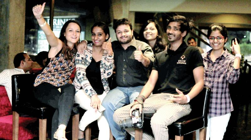 L to R: Alison, Veda, Aditya, Anushree, John and Manisha at one of the F**p Nights by Bhive Workspace