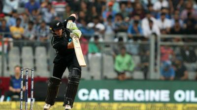 Martin Guptill plays a shot against India in New Zealand's run chase. (Photo: BCCI)