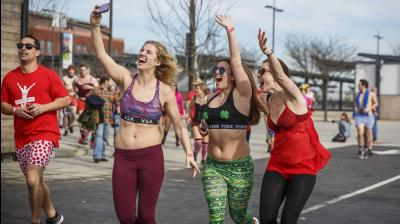 Some joggers weren't joking when they said they were going out for a 'brief run.' In briefs, boxers, bras and bloomers, they ran three-quarters of a mile in a Valentine's Day-related charity event benefiting sick children.