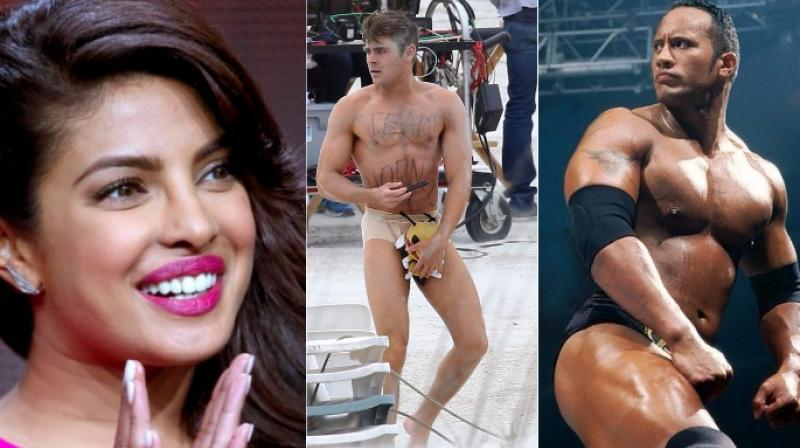 Priyanka Chopra, Zac Efron and Dwayne Johnson.