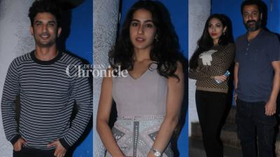 Sushant Singh Rajput and Sara Ali Khan were spotted along with the team of their upcoming film 'Kedarnath' as they stepped out for dinner in Mumbai late Wednesday. (Photo: Viral Bhayani)