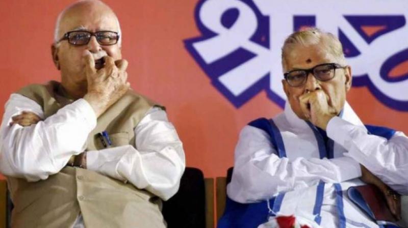 Senior BJP leaders L. K. Advani and Murli Manohar Joshi. (File photo)