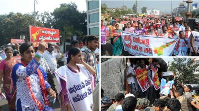 Thousands of youngsters who were on their way to RK beach in Visakhapatnam to take part in a silent protest demanding Special Category Status (SCS) for Andhra Pradesh were detained at various places in the city on Thursday.