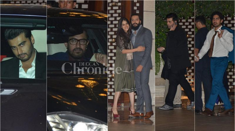 After attending MAMI festival on Thursday, Bollywood celebrities such as Aamir Khan, Riteish Deshmukh, Karan Johar and others partied with Mukesh Ambani and his family at their Antilia house in Mumbai. (Photo: Viral Bhayani)