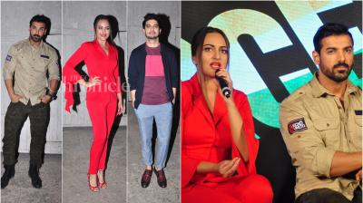 On Friday, John Abraham, Sonakshi Sinha and Tahir Raj Bhasin released their film 'Force 2's new song 'Rang Laal' in Mumbai. (Photo: Viral Bhayani)