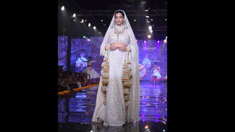Sonam dazzles Delhi ramp in Venice-inspired bridal lehenga