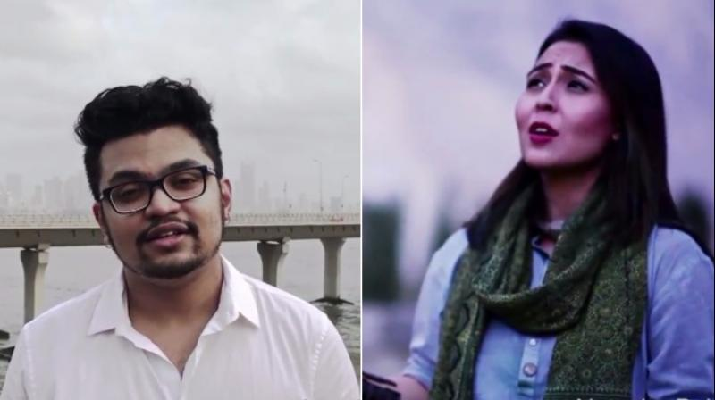 Singers Arun Haridas Kamath from India and Natasha Baig from Pakistan are two of the many singers from both side of the borders who participated in the peace anthem (Photo: Youtube screengrab)