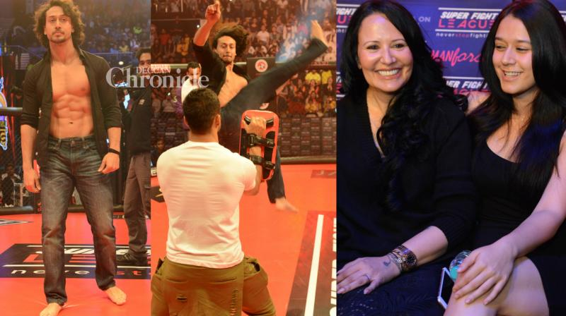 Tiger Shroff was present at the Super Fight League on Friday where he displayed his impressive fight moves with his mother Ayesha and sister Krishna cheering him on. (Photo: Viral Bhayani)