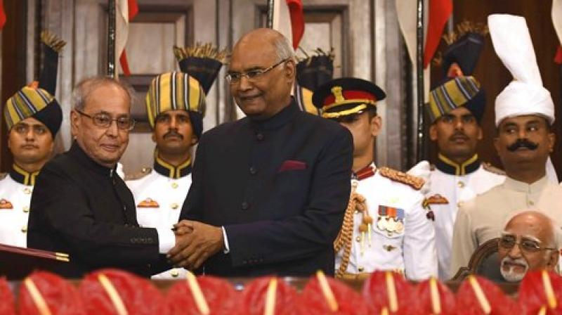 Ram Nath Kovind was sworn in as the 14th President of India on Tuesday at Rashtrapati Bhawan in a glittering ceremony. Kovind exchanged seats with Pranab Mukherjee and a 21-gun salute followed as the new President Kovind made his first address. The ceremony began at 12:15 pm in the Central Hall of Parliament.