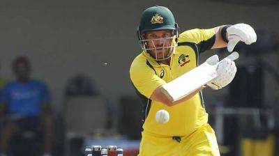 Making a comeback to the side, Aaron Finch hammered a hundred as he and Steve Smith look to push Australia past 300 in the third ODI against India in Indore. (Photo: BCCI)
