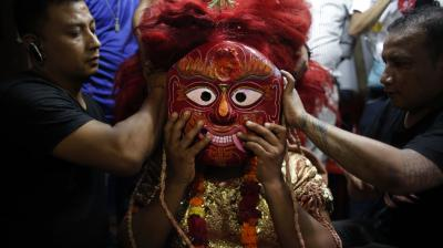 "Indra Jatra is known traditionally as Yanya Punhi which is Newari (the original settlers of the Kathmandu Valley) for ""Kathmandu festival"". It's also known as kumari Jatra. So in truth it's about two to three celebrations all made into one. (Photo: AP)"