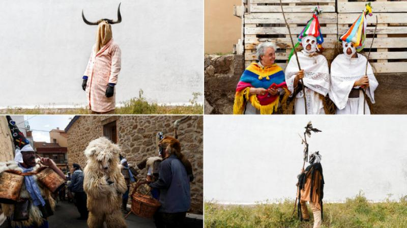 Spain celebrates the mask festival in a traditional carnival with different characters including both animate and inanimate objects. (Photo: AP)