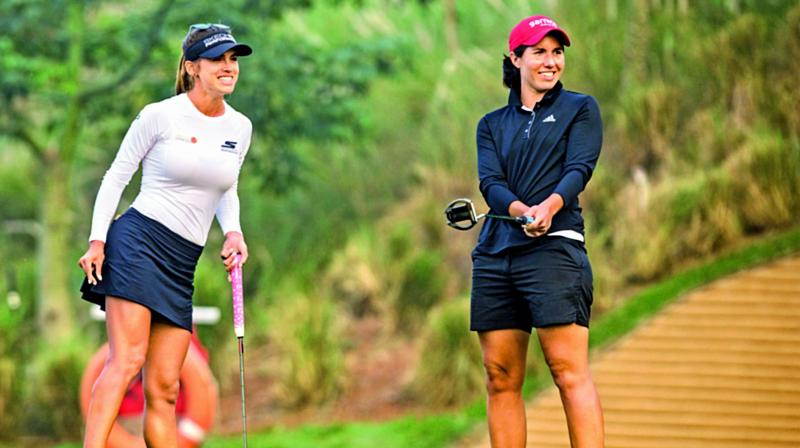 Belen Mozo (left) and Carlota Ciganda at practice in Gurgaon on Wednesday, ahead of the Hero Women's Indian Open that gets under way on Friday.