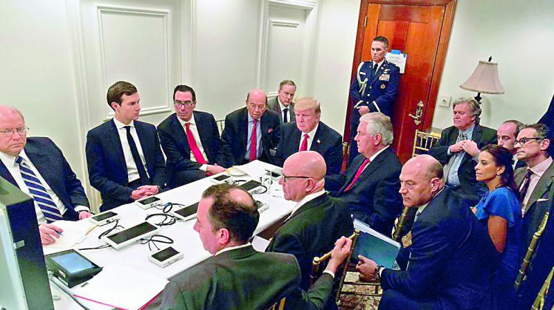 President Donald Trump tracked his first major military operation from a makeshift 'Situation Room' in his Mar-a Lago estate in Florida