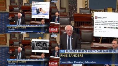 Bernie Sanders brought a huge printout of the president elect's tweet in 2015 to senate (Photo: Twitter)
