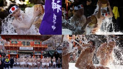 The cold water endurance festival in Japan is celebrated annually by Shintoism followers who believe that the water purifies their soul. (Photo: AP)