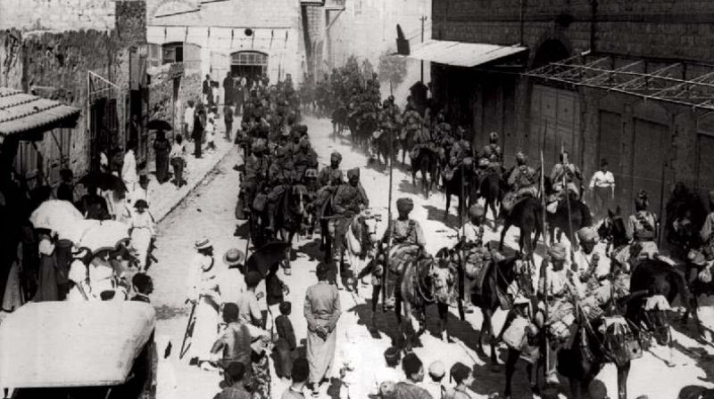 Mysore Lancers march into Haifa Israel after taking over the Port city in 1918 along with the Jodhpur Lancers
