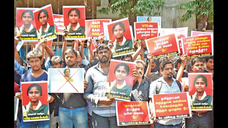 Students protest over death of Anitha, demand cancellation of NEET