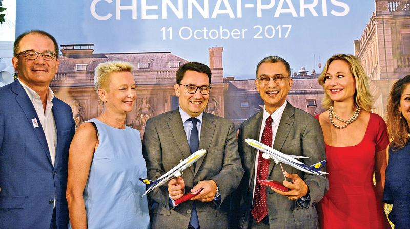 Alexandre Ziegler, Ambassador of France to India, and Vinay Dube, CEO, Jet Airways, announce the launch of Jet Airways Chennai-Paris, non-stop flight during a press briefing in the city on Wednesday (Photo: DC)