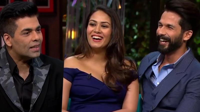 Karan Johar, Shahid Kapoor and Mira Rajput on 'Koffee with Karan.'