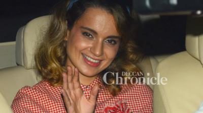 Kangana Ranaut and other celebrities were spotted arriving for a screening of the film 'Rangoon' late Thursday. (Photo: Viral Bhayani)