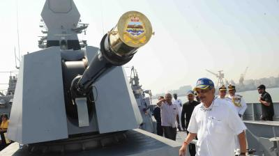 Defence Minister Manohar Parrikar commissioned 'INS Chennai', the third indigenously designed guided missile destroyer in the Kolkata class, here on Monday.
