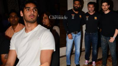 Suniel Shetty's son Ahan Shetty, who is set to make his debut soon, was seen at a fitness event of a channel where his father, Sohail Khan and Sooraj Pancholi were also seen. (Photo: Viral Bhayani)