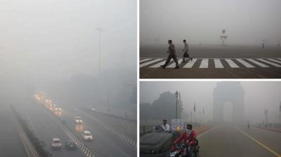 A thick blanket of smog engulfed the national capital a day after Diwali festivities, leading to poor visibility conditions across the city.