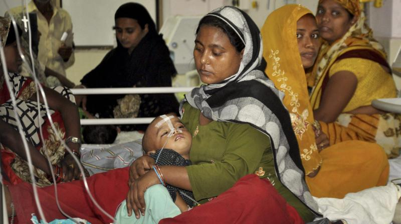 An inside view of a ward of Baba Raghav Das Medical College Hospital in Gorakhpur on Friday,where at least 63 children died since the past six days. (Photo: PTI)