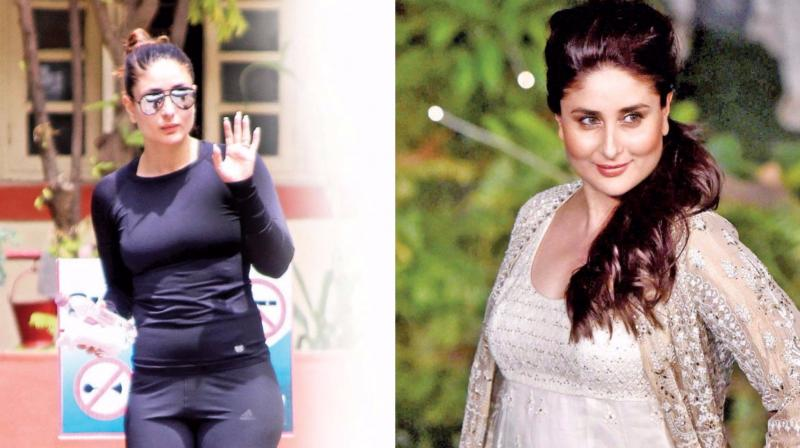 (right) Kareena Kapoor Khan walked the ramp for Anita Dongre months after her delivery; (left) her hitting the gym.