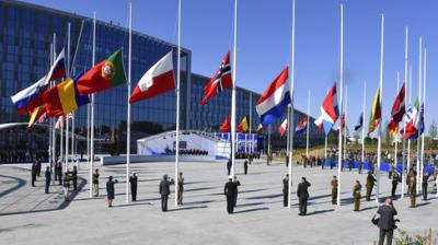 US President Donald Trump and his NATO counterparts on Thursday inaugurated the alliance's new headquarters in Belgium, a sprawling 1.1-billion-euro (USD 1.2-billion) complex expected to be fully up and running early next year. (Photo: AP)