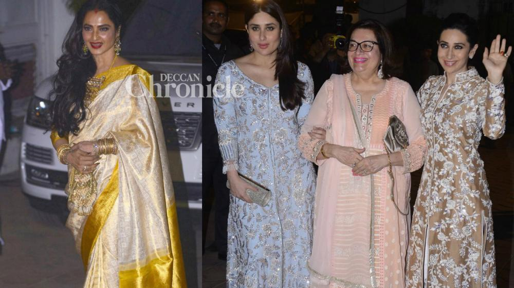 Numerous stars were snapped arriving for Randhir Kapoor's birthday party held in Mumbai on Wednesday. (Photo: Viral Bhayani)