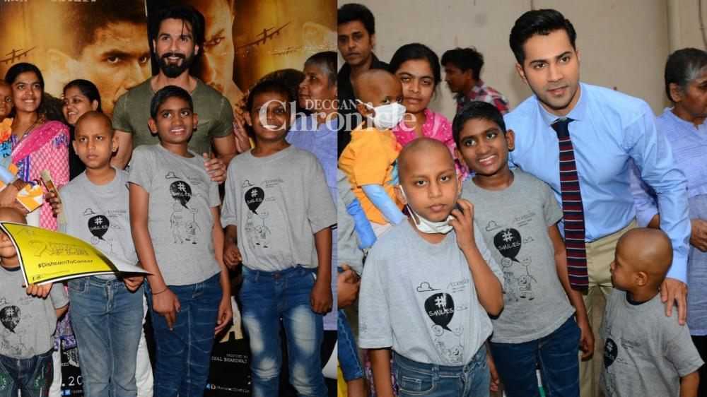 Varun Dhawan and Shahid Kapoor interacted with kids affected with cancer as part of an initiative on Wednesday. (Photo: Viral Bhayani)