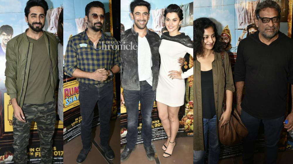Several B-Town stars were seen at the premiere of Taapse Paanu and Amit Sadh-starrer 'Running Shaadi' in Mumbai late Wednesday. (Photo: Viral Bhayani)