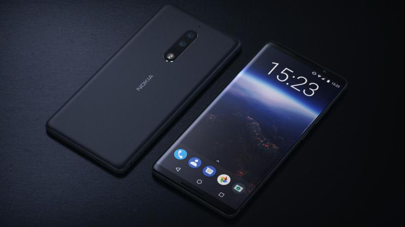 The phone is shown featuring a glass body with dual-rear camera lens and a bezel-less display.