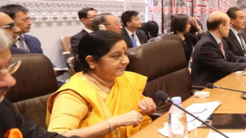 Sushma Swaraj meets Japanese PM Shinzo Abe in NY