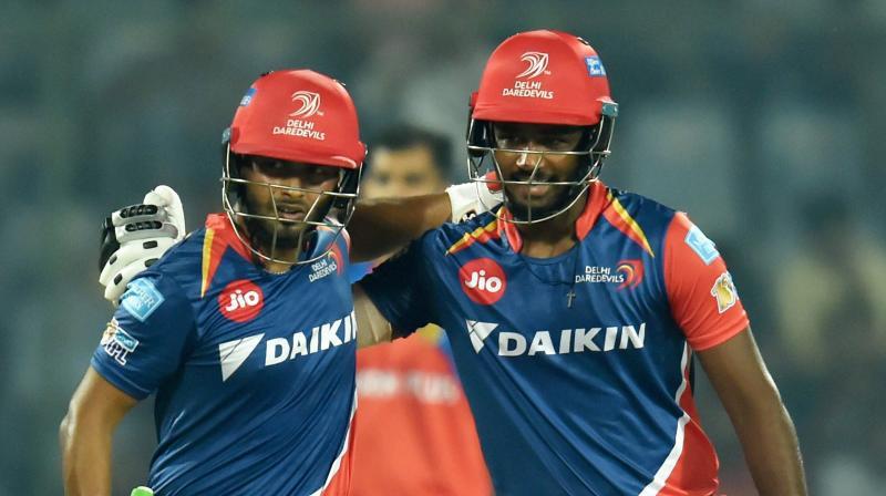 The sensational 143-run stand between Rishabh Pant and Sanju Samson powered Delhi Daredevils to seven-wicket win against Gujarat Lions. (Photo: PTI)