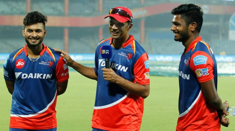 """""""I am glad that you have not been watching too many videos of me batting when you need 208 in 20 overs. Well done boys, terrific innings,"""" Rahul Dravid told Sanju Samson and Rishabh Pant as they powered Delhi Daredevils to seven-wicket win against Gujarat Lions. (Photo: IPL Twitter)"""