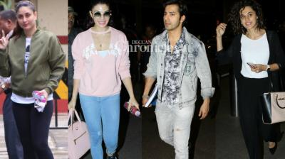 The team of 'Judwaa 2' were snapped at the airport while several other stars were also spotted at various locations in Mumbai on Sunday. (Photo: Viral Bhayani)