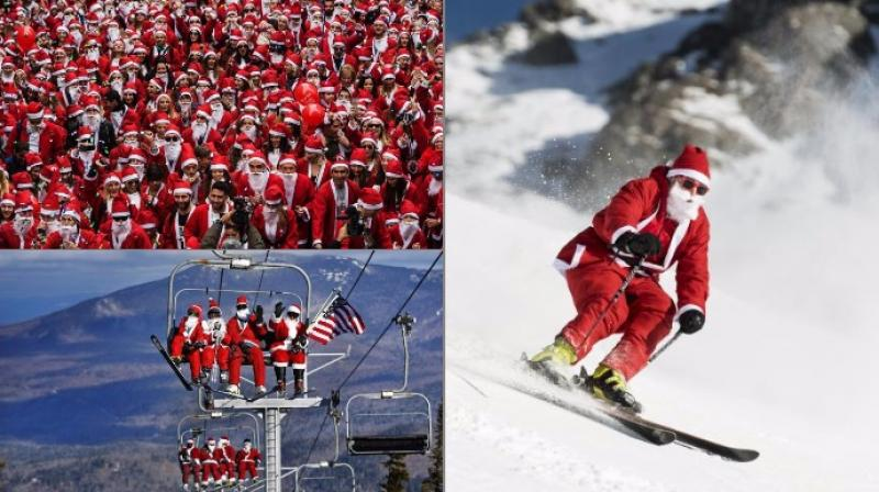 From Santa Run in Athens to Santa's flooding a skiing town in Maine, the festive season's arrival was marked with such events (Photo: AP/AFP)