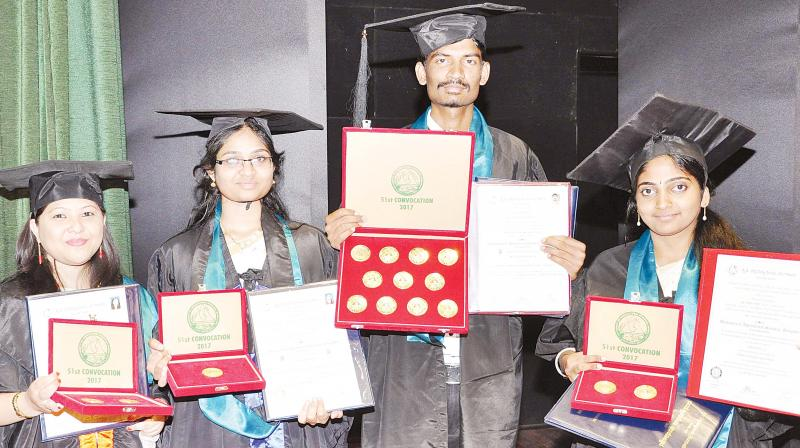 Gold medalists of GKVK at the annual convocation in Bengaluru on Monday. (Photo:DC)