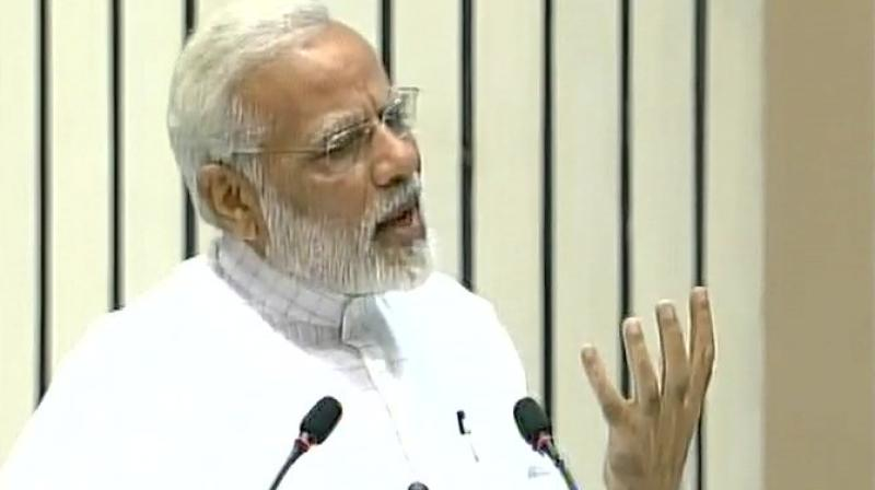 The Prime Minister referred to Vivekananda's address on 09/11 and also referred to the terror attack on the US on September 11, 2001. (Photo: Twitter | ANI)