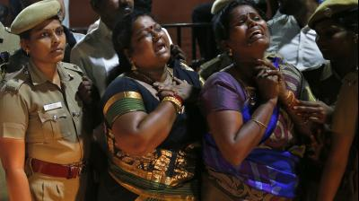 Cries of 'Amma, Amma' from hundreds of AIADMK supporters rent the air outside Apollo Hospitals where J Jayalalithaa breathed her last after suffering a massive cardiac arrest.