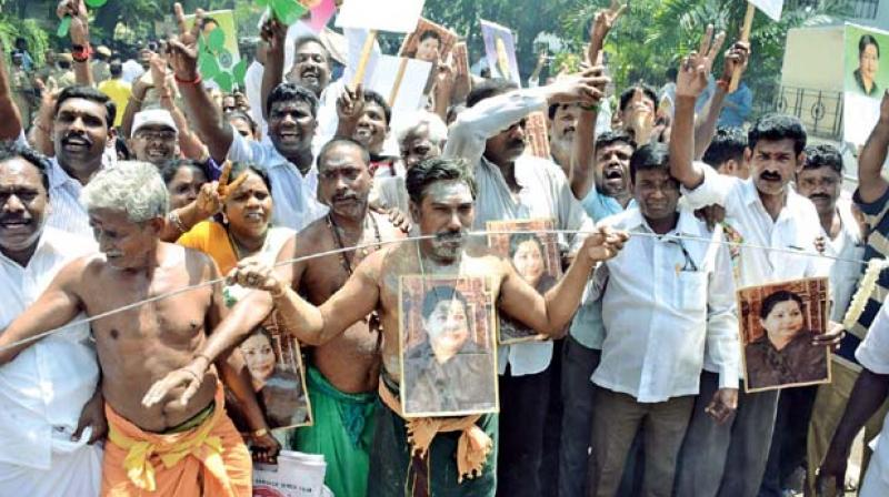 Late Tamil Nadu Chief Minister J Jayalalithaa's fan frenzy had reached its peak at some places in the state when many AIADMK supporters pierced themselves with spears and hooks as penance for 'Amma' to return to power, when she celebrated her 67th birthday.