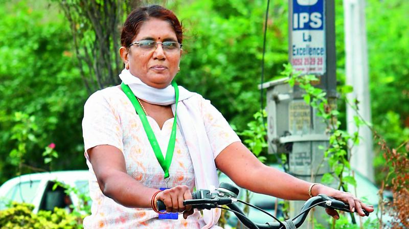 A senior citizen cycles at the event  organised by Physical Literacy Days
