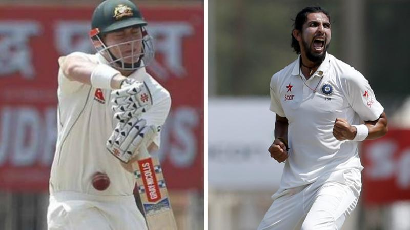 Following a couple of minutes delay, Ishant Sharma resumed his over and charged Matt Renshaw with a short-pitched delivery that hit the youngster's thigh pad and climbed straight up to hit the chin through the gap of the helmet grill. (Photo: BCCI / AP)